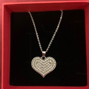Sterling Silver 925 with Heart Diamond Necklace
